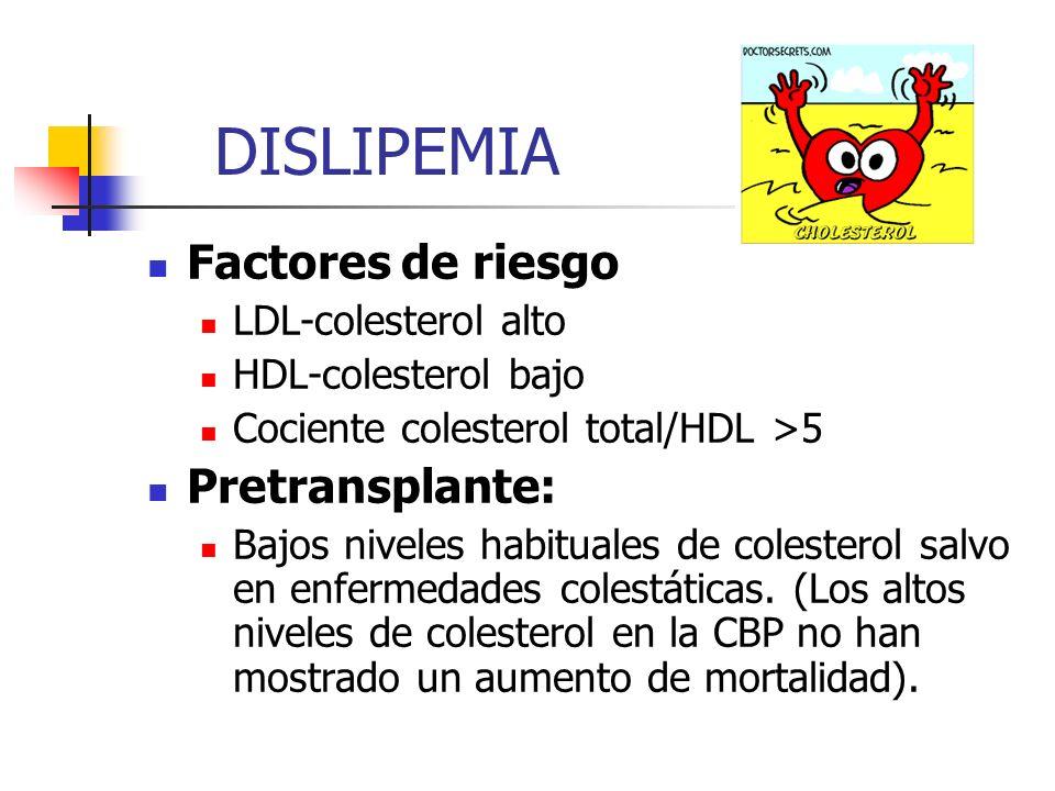 DISLIPEMIA Factores de riesgo Pretransplante: LDL-colesterol alto