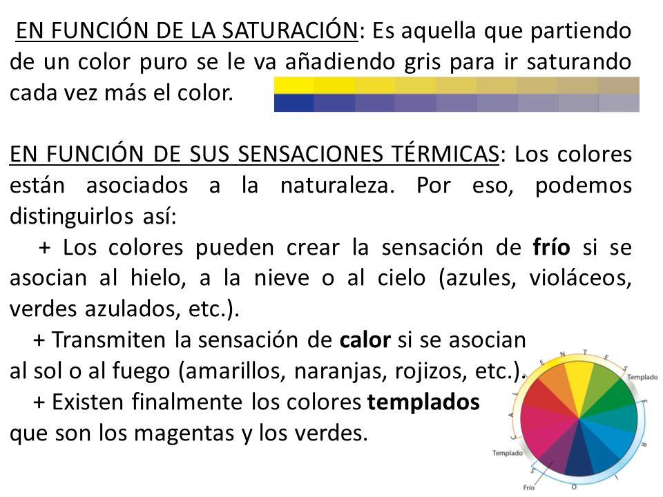EN FUNCIÓN DE LA SATURACIÓN: Es aquella que partiendo de un color puro se le va añadiendo gris para ir saturando cada vez más el color.