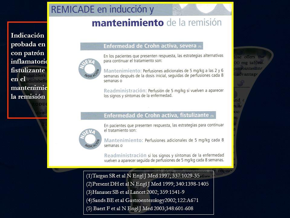 Indicación probada en EC con patrón inflamatorio(1) y fistulizante (2) y en el mantenimiento de la remisión
