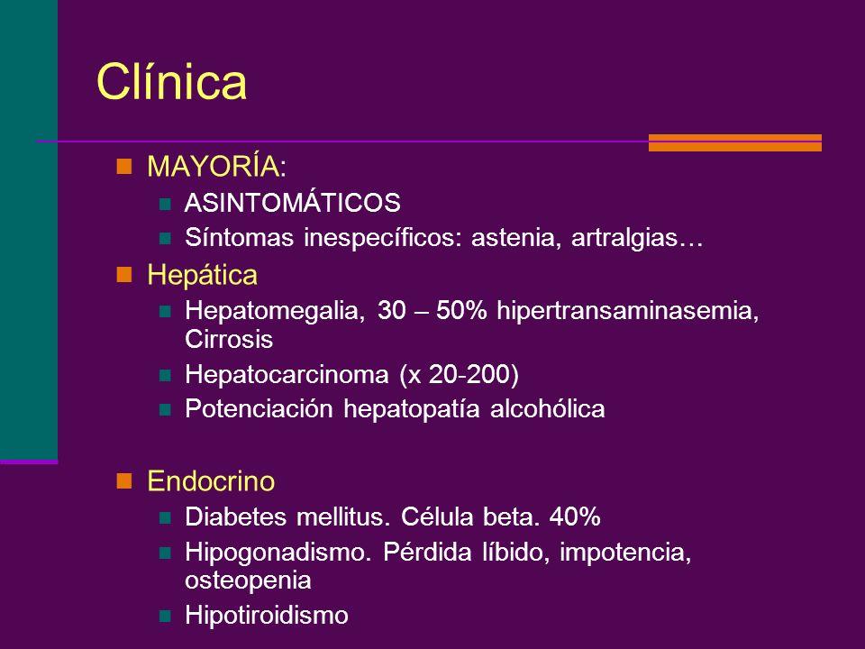 Clínica MAYORÍA: Hepática Endocrino ASINTOMÁTICOS