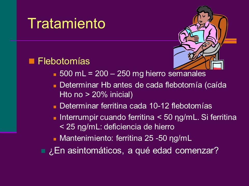 Tratamiento Flebotomías ¿En asintomáticos, a qué edad comenzar
