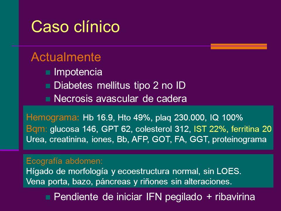 Caso clínico Actualmente Impotencia Diabetes mellitus tipo 2 no ID