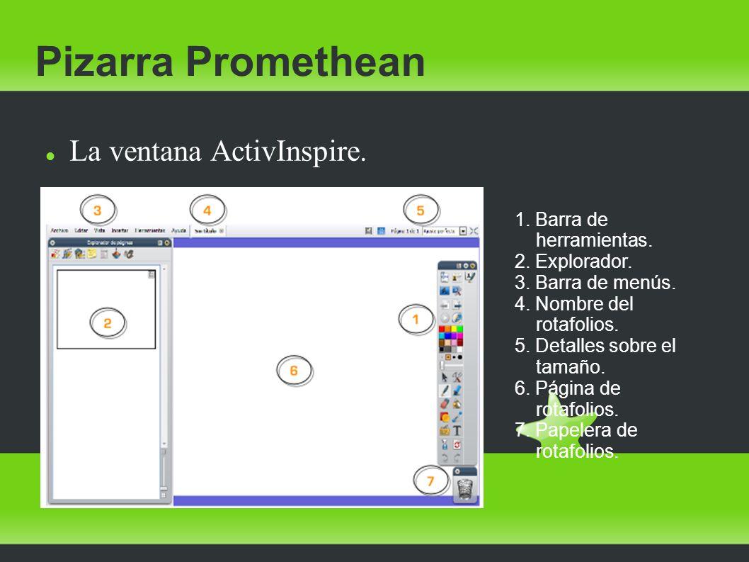 Pizarra Promethean La ventana ActivInspire. 1. Barra de herramientas.