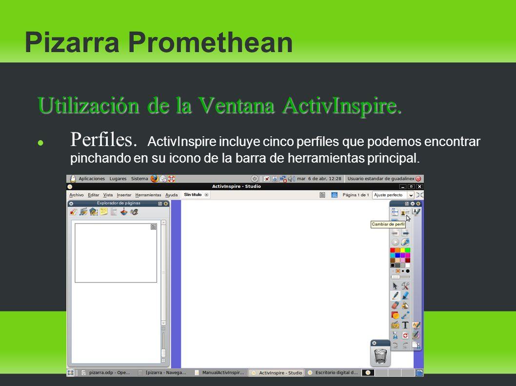 Pizarra Promethean Utilización de la Ventana ActivInspire.
