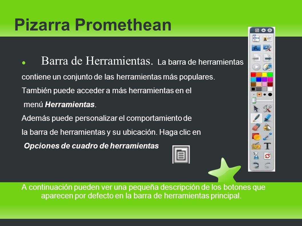 Pizarra Promethean Barra de Herramientas. La barra de herramientas