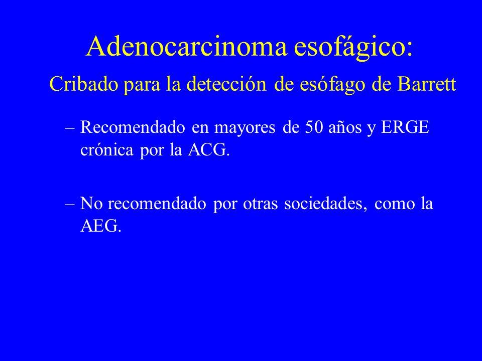 Adenocarcinoma esofágico: Cribado para la detección de esófago de Barrett