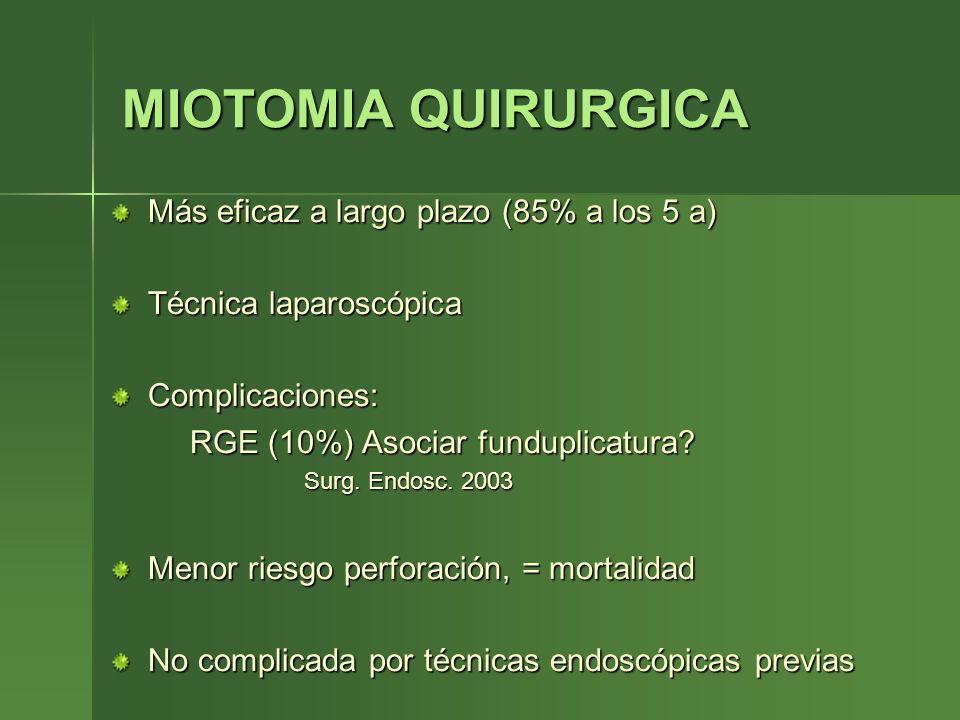 MIOTOMIA QUIRURGICA Más eficaz a largo plazo (85% a los 5 a)