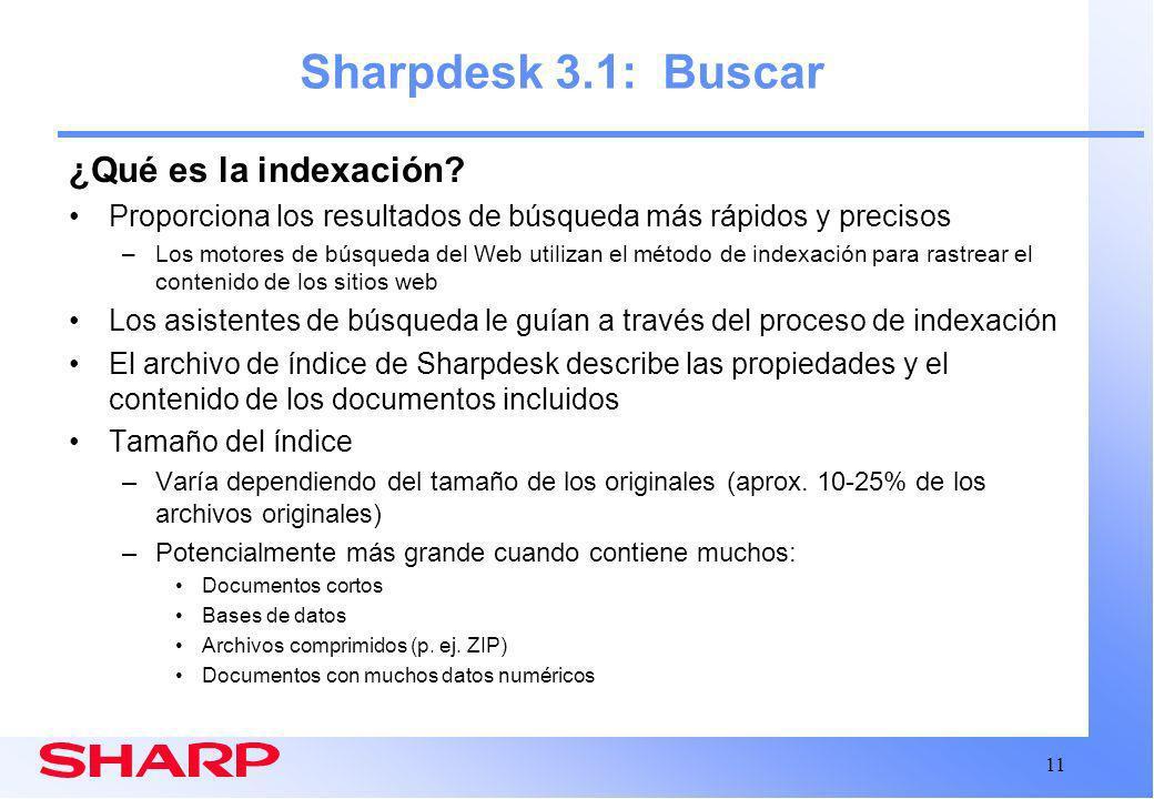 Sharpdesk 3.1: Buscar ¿Qué es la indexación
