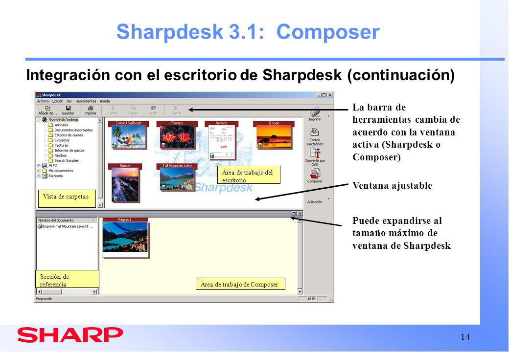 Sharpdesk 3.1: Composer Integración con el escritorio de Sharpdesk (continuación)