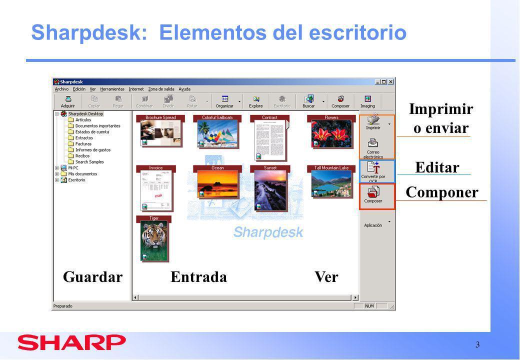 Sharpdesk: Elementos del escritorio