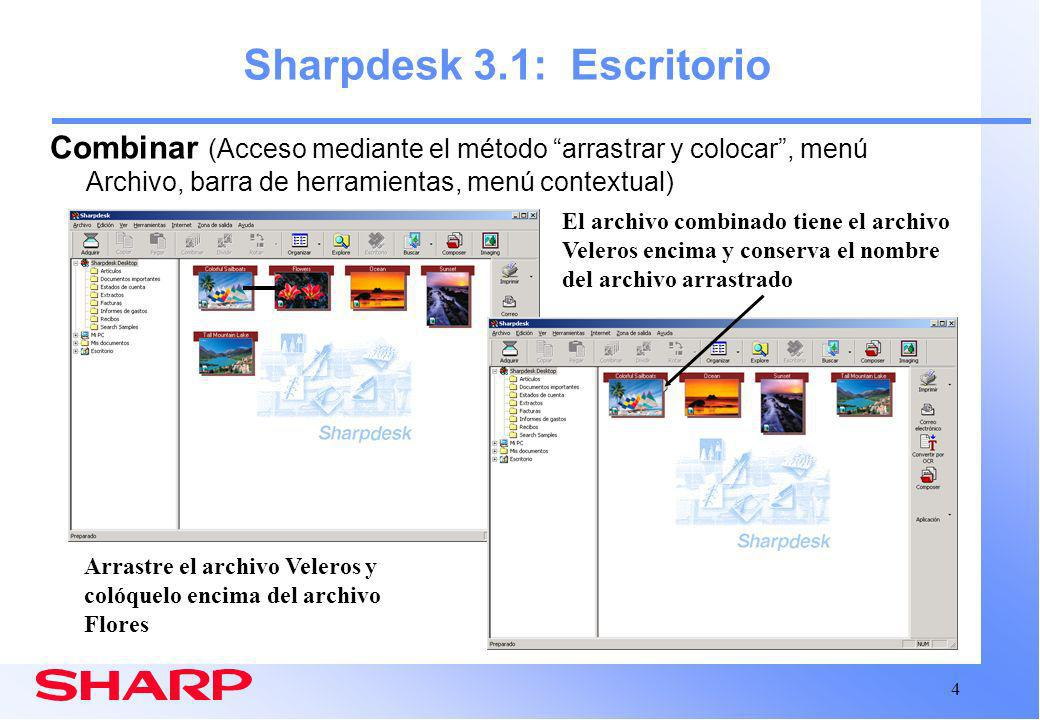 Sharpdesk 3.1: Escritorio