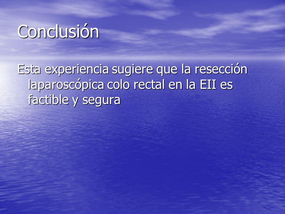ConclusiónEsta experiencia sugiere que la resección laparoscópica colo rectal en la EII es factible y segura.