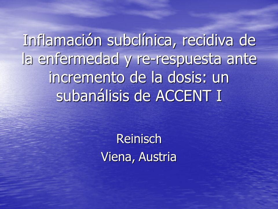 Inflamación subclínica, recidiva de la enfermedad y re-respuesta ante incremento de la dosis: un subanálisis de ACCENT I