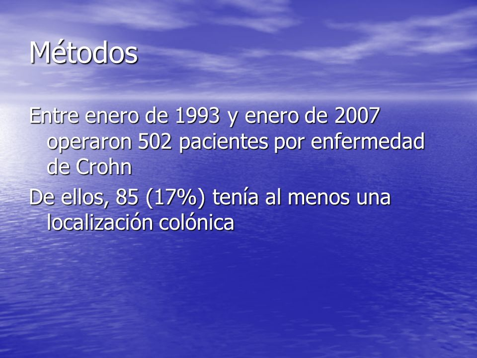 MétodosEntre enero de 1993 y enero de 2007 operaron 502 pacientes por enfermedad de Crohn.