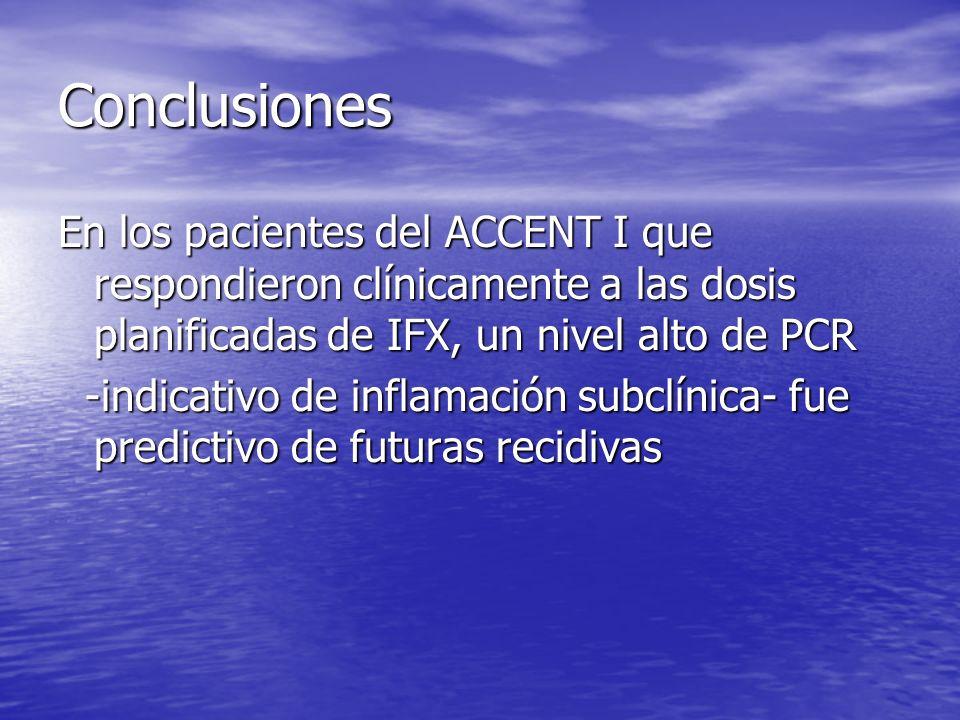 Conclusiones En los pacientes del ACCENT I que respondieron clínicamente a las dosis planificadas de IFX, un nivel alto de PCR.