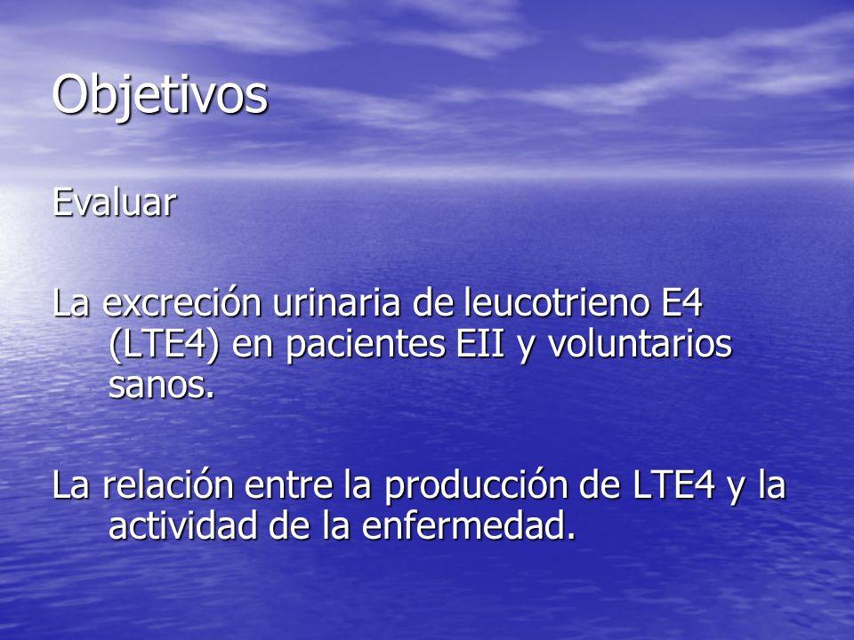 Objetivos Evaluar. La excreción urinaria de leucotrieno E4 (LTE4) en pacientes EII y voluntarios sanos.