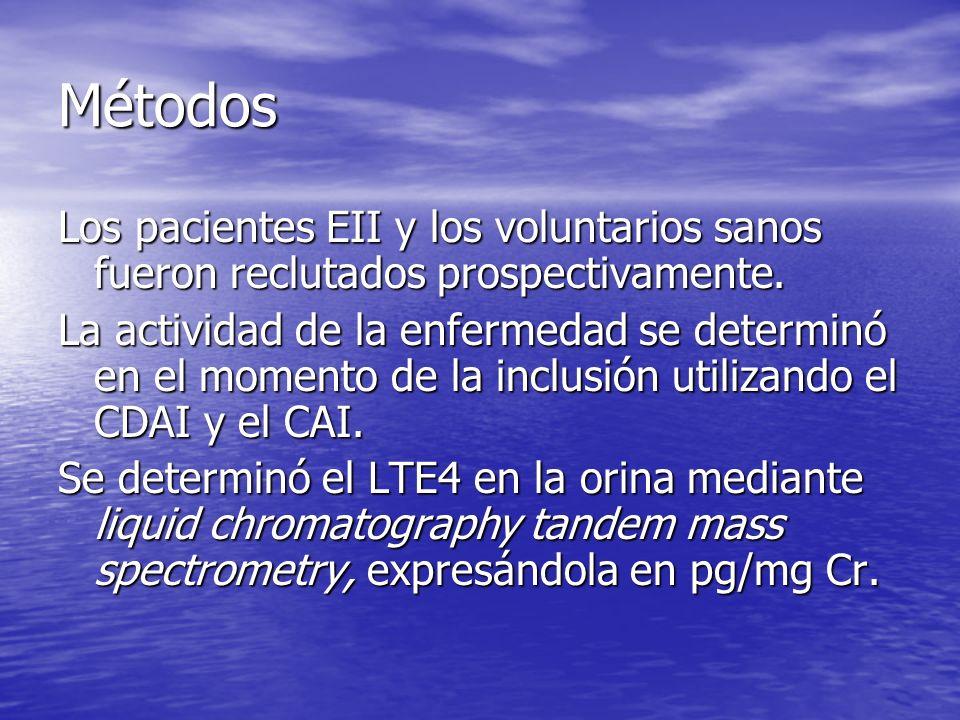 Métodos Los pacientes EII y los voluntarios sanos fueron reclutados prospectivamente.