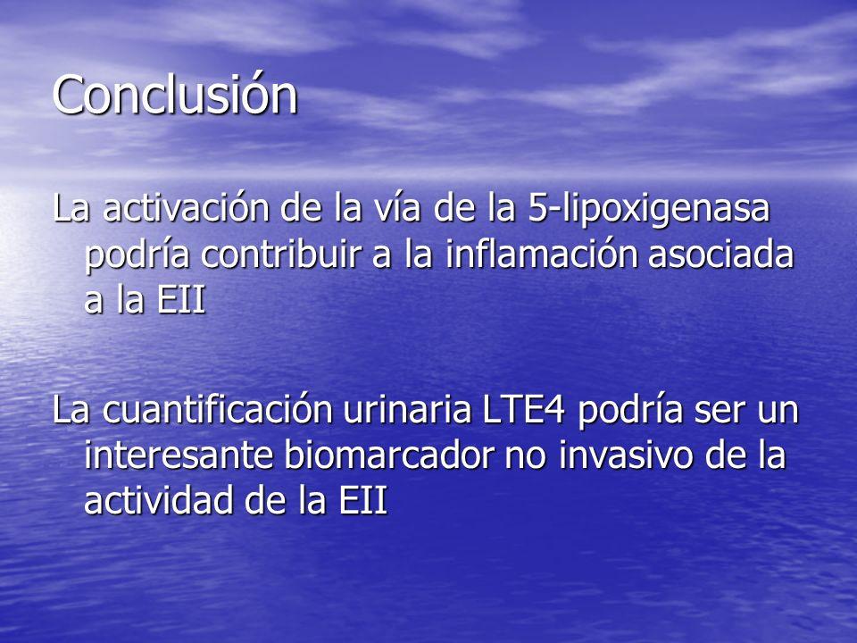 Conclusión La activación de la vía de la 5-lipoxigenasa podría contribuir a la inflamación asociada a la EII.