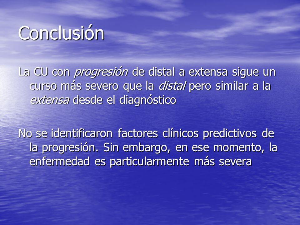 ConclusiónLa CU con progresión de distal a extensa sigue un curso más severo que la distal pero similar a la extensa desde el diagnóstico.