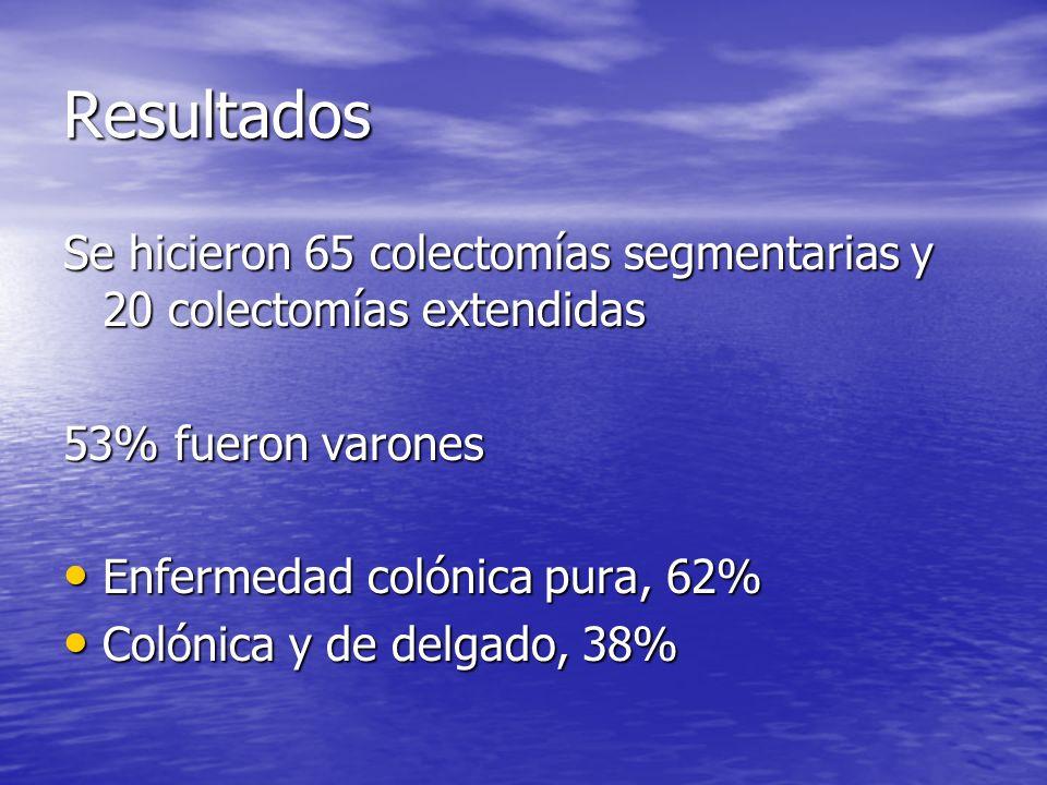 Resultados Se hicieron 65 colectomías segmentarias y 20 colectomías extendidas. 53% fueron varones.
