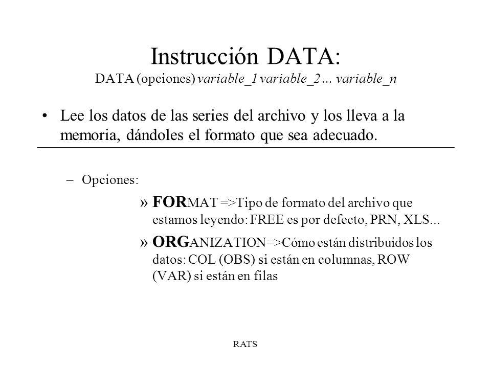 Instrucción DATA: DATA (opciones) variable_1 variable_2 ... variable_n