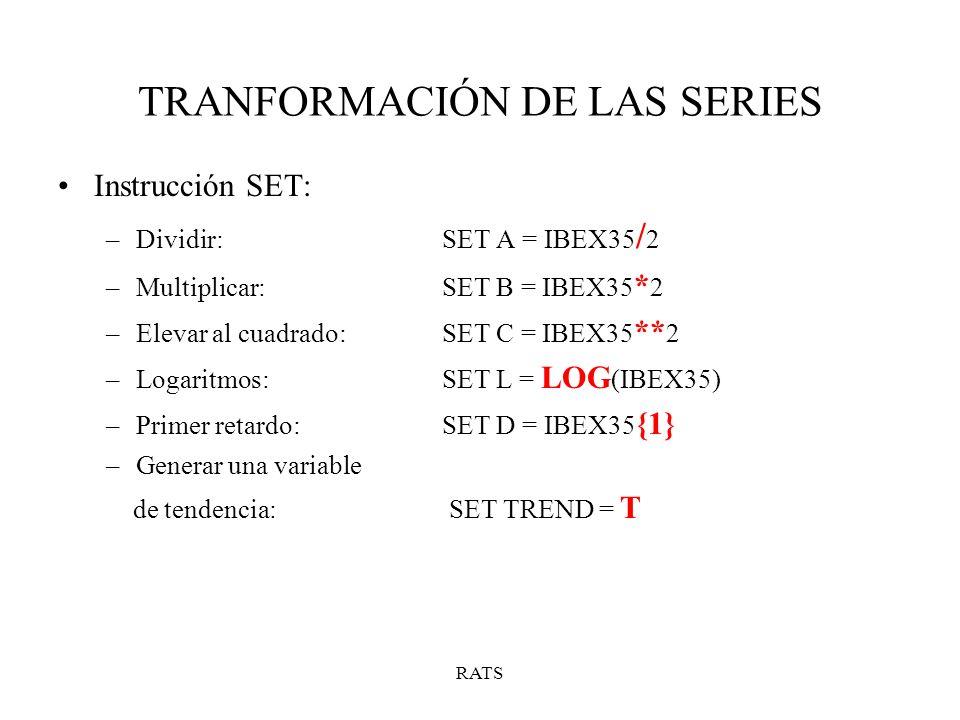 TRANFORMACIÓN DE LAS SERIES
