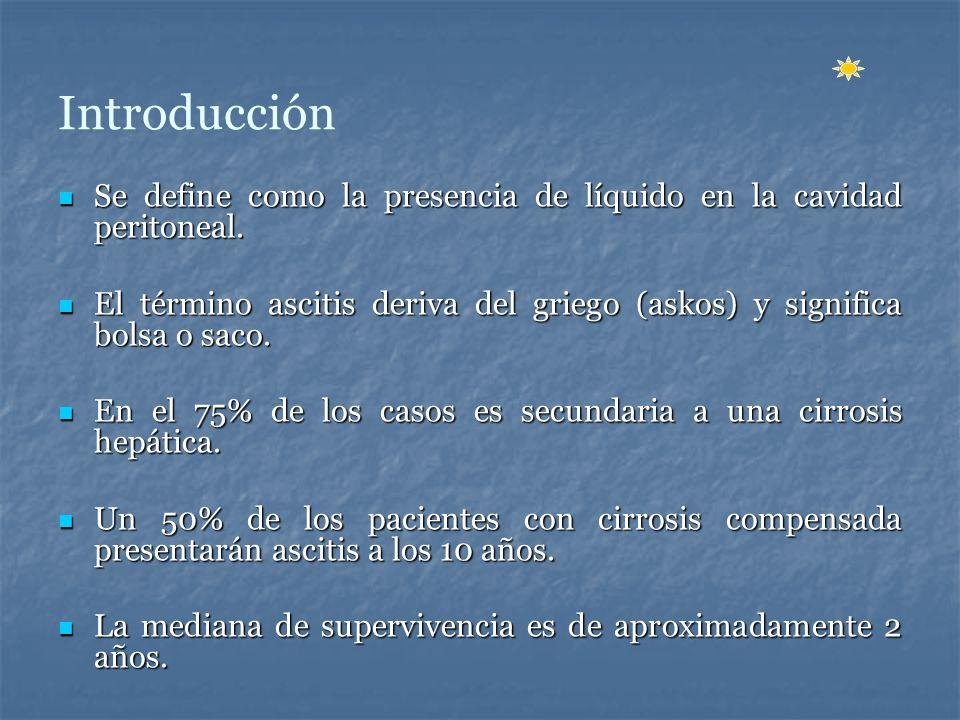 Introducción Se define como la presencia de líquido en la cavidad peritoneal. El término ascitis deriva del griego (askos) y significa bolsa o saco.