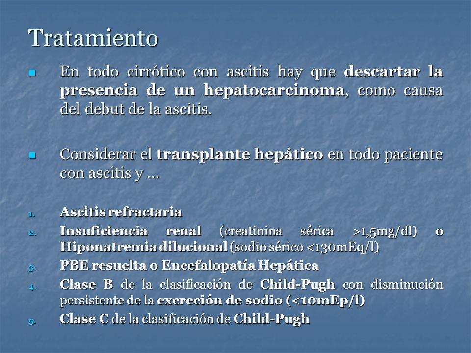Tratamiento En todo cirrótico con ascitis hay que descartar la presencia de un hepatocarcinoma, como causa del debut de la ascitis.