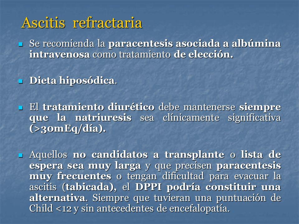 Ascitis refractariaSe recomienda la paracentesis asociada a albúmina intravenosa como tratamiento de elección.