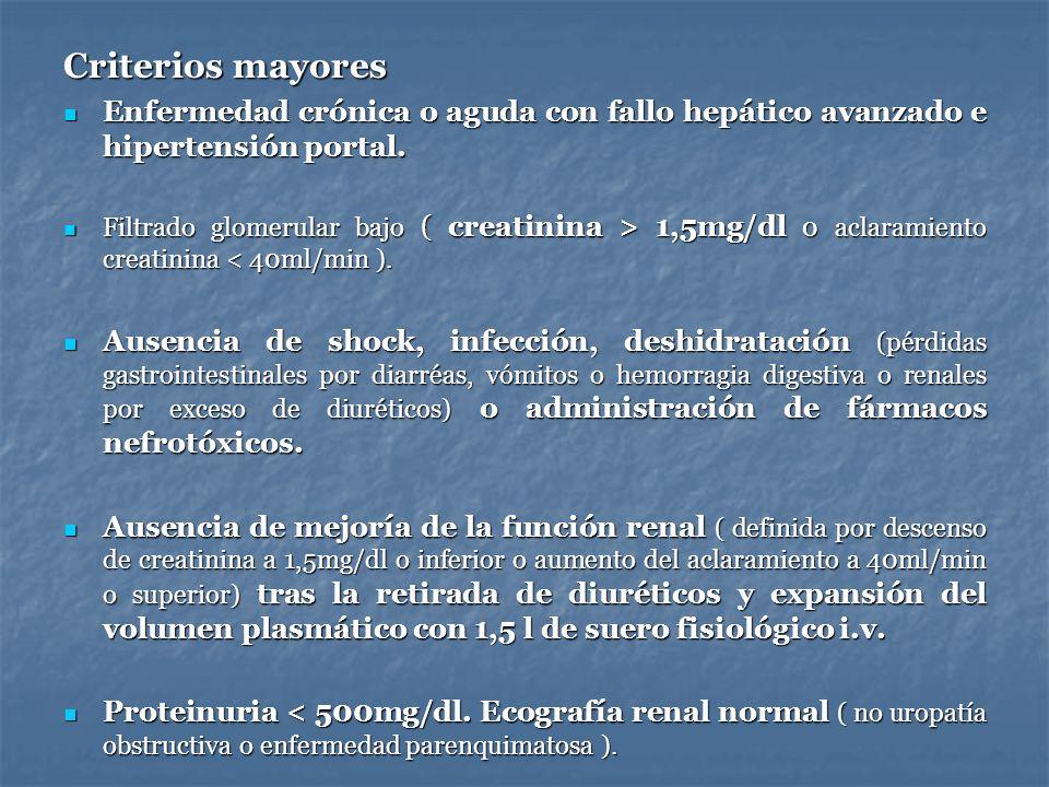 Criterios mayoresEnfermedad crónica o aguda con fallo hepático avanzado e hipertensión portal.