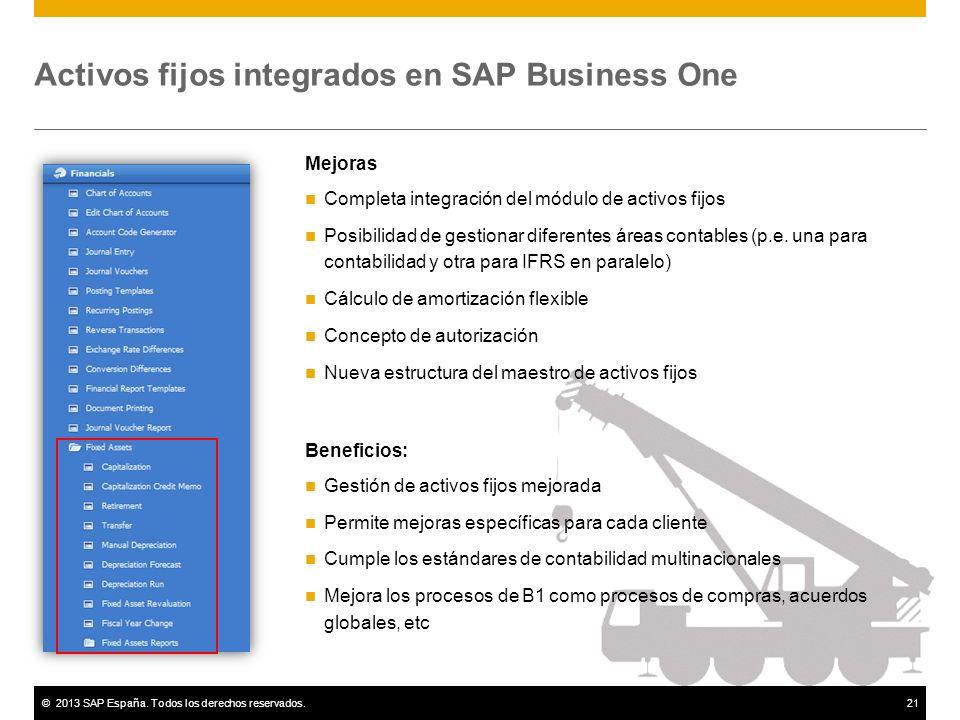 Activos fijos integrados en SAP Business One