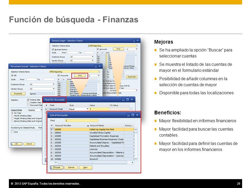 Función de búsqueda - Finanzas