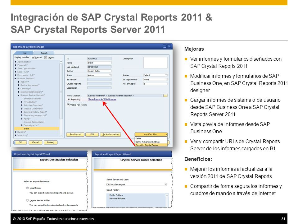 Integración de SAP Crystal Reports 2011 & SAP Crystal Reports Server 2011