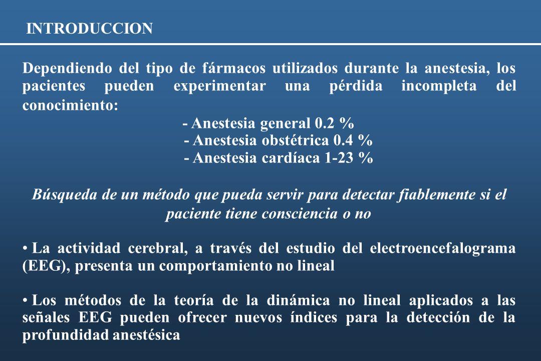 - Anestesia obstétrica 0.4 % - Anestesia cardíaca 1-23 %