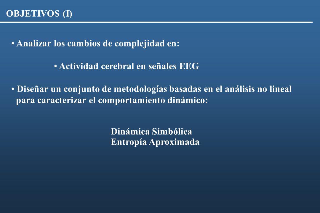 OBJETIVOS (I) Analizar los cambios de complejidad en: Actividad cerebral en señales EEG.