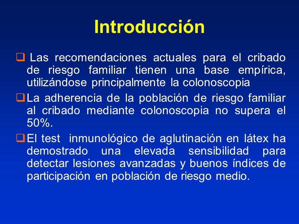 Introducción Las recomendaciones actuales para el cribado de riesgo familiar tienen una base empírica, utilizándose principalmente la colonoscopia.