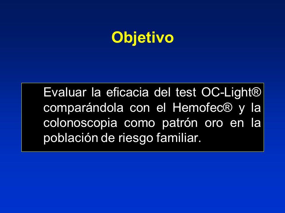 Objetivo Evaluar la eficacia del test OC-Light® comparándola con el Hemofec® y la colonoscopia como patrón oro en la población de riesgo familiar.