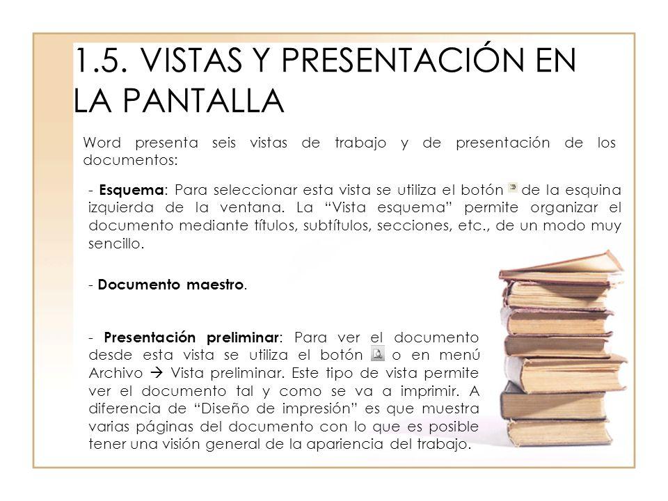 1.5. VISTAS Y PRESENTACIÓN EN LA PANTALLA