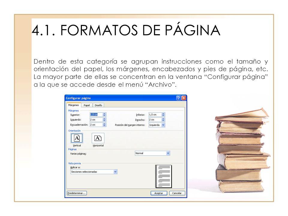 4.1. FORMATOS DE PÁGINA