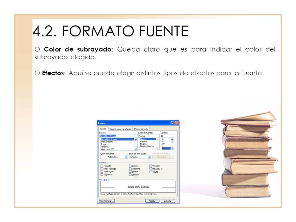 4.2. FORMATO FUENTEO Color de subrayado: Queda claro que es para indicar el color del subrayado elegido.
