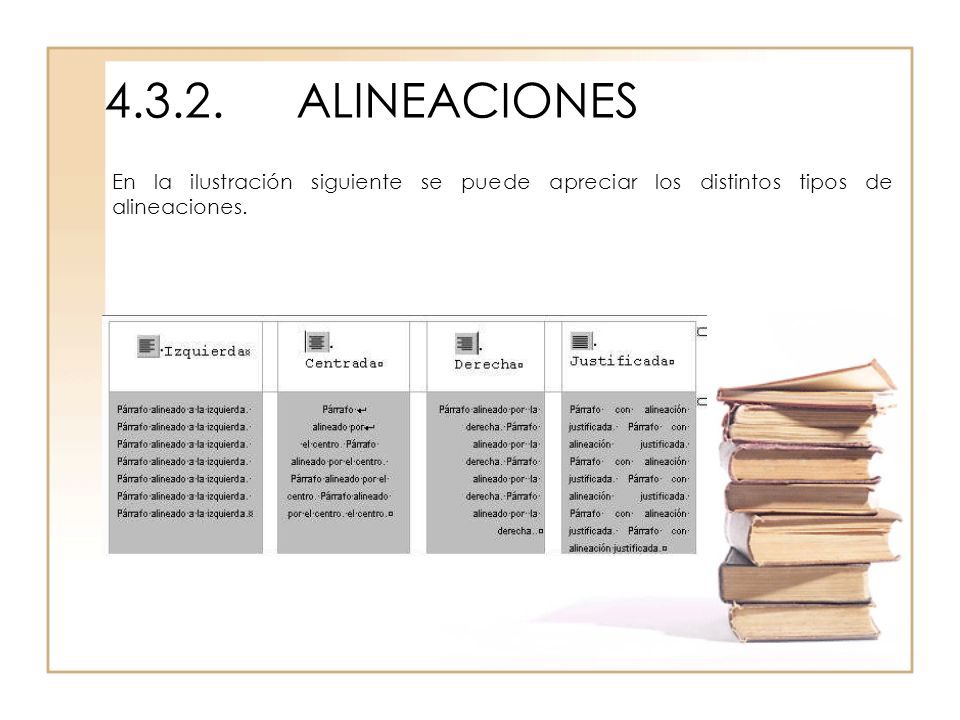 4.3.2. ALINEACIONES En la ilustración siguiente se puede apreciar los distintos tipos de alineaciones.