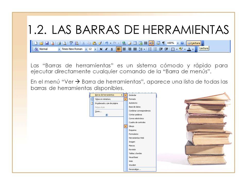 1.2. LAS BARRAS DE HERRAMIENTAS