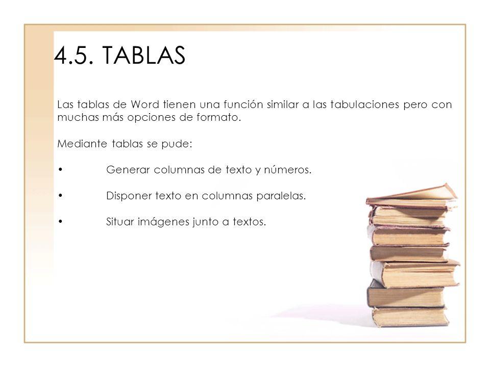 4.5. TABLAS Las tablas de Word tienen una función similar a las tabulaciones pero con muchas más opciones de formato.