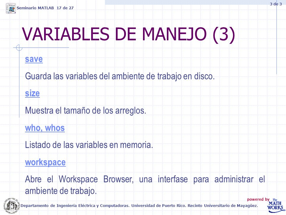 VARIABLES DE MANEJO (3) save