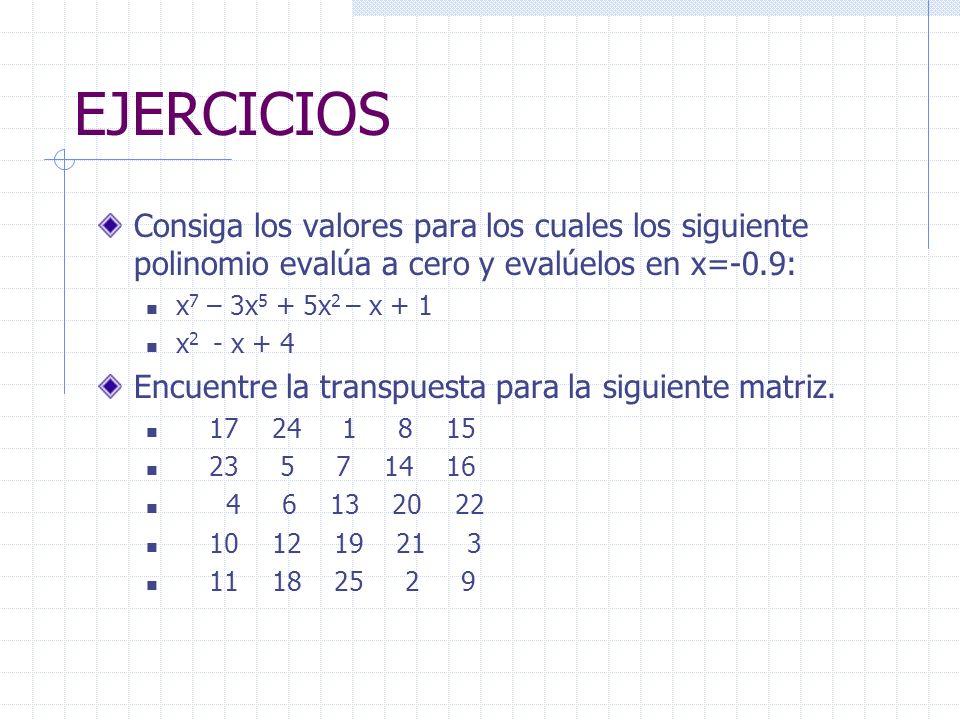 EJERCICIOS Consiga los valores para los cuales los siguiente polinomio evalúa a cero y evalúelos en x=-0.9: