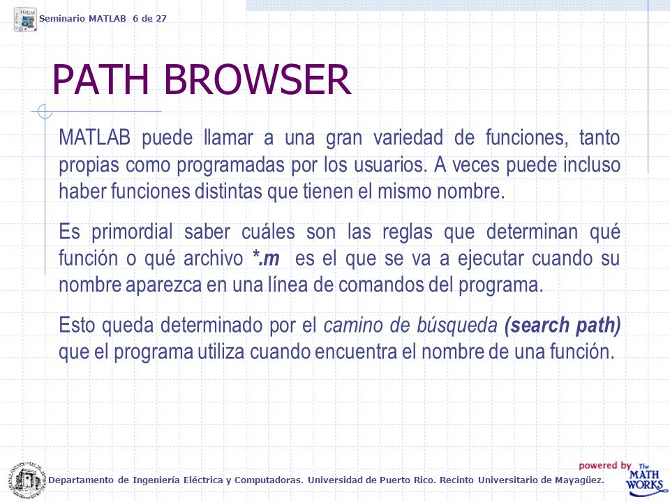 Seminario MATLAB 6 de 27 PATH BROWSER.
