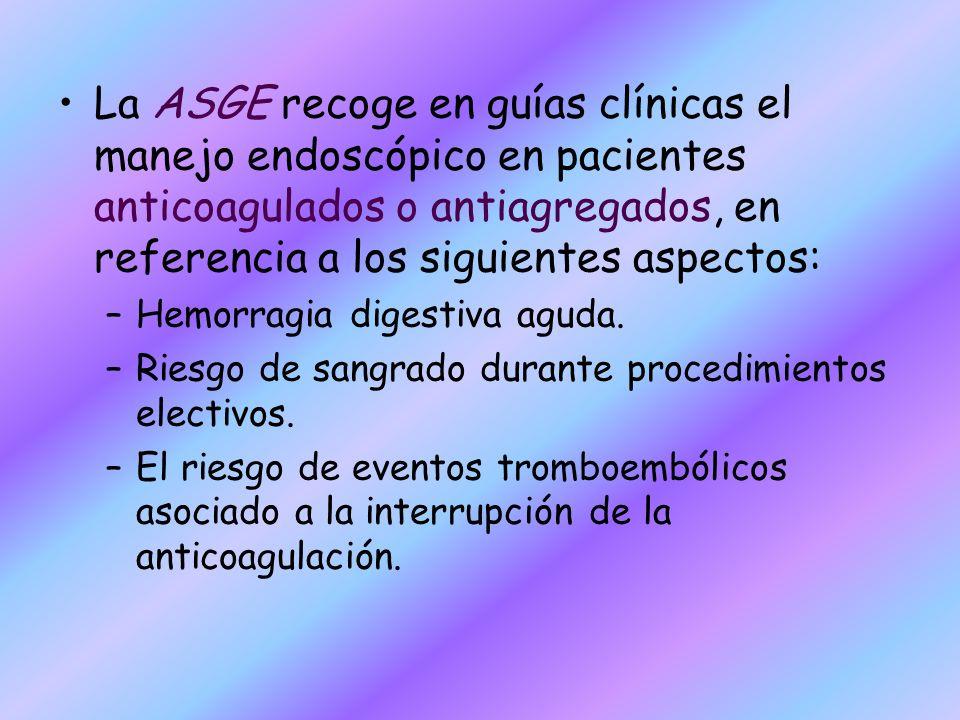 La ASGE recoge en guías clínicas el manejo endoscópico en pacientes anticoagulados o antiagregados, en referencia a los siguientes aspectos: