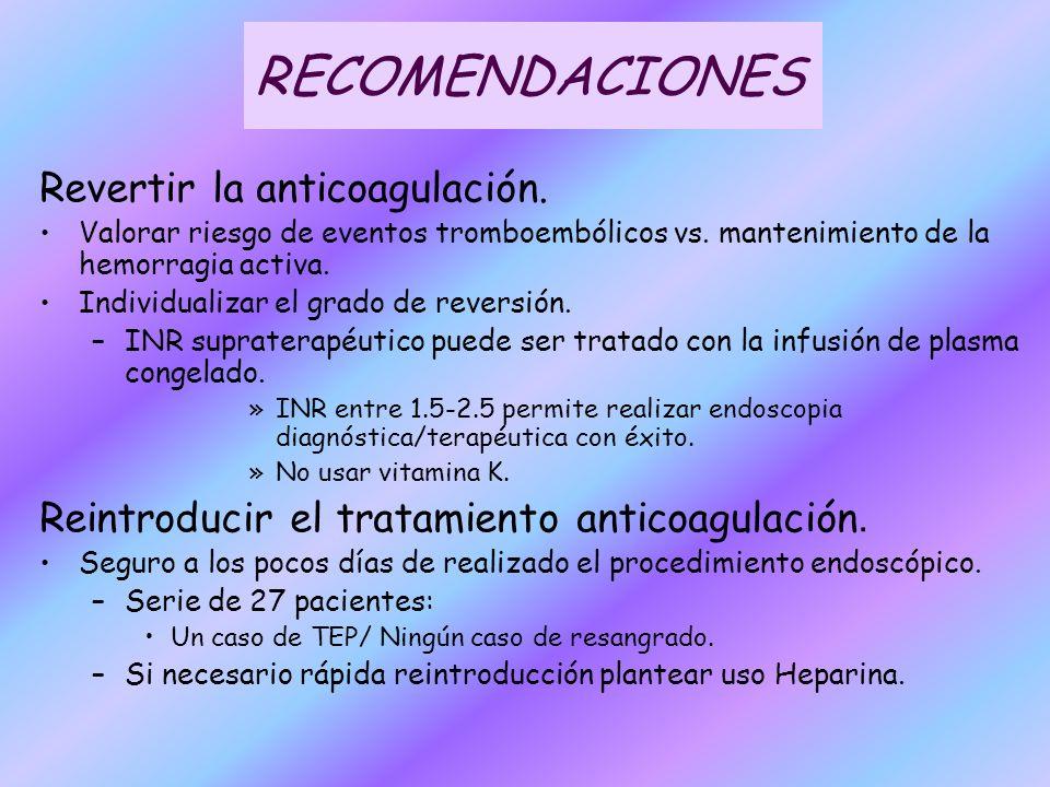 RECOMENDACIONES Revertir la anticoagulación.