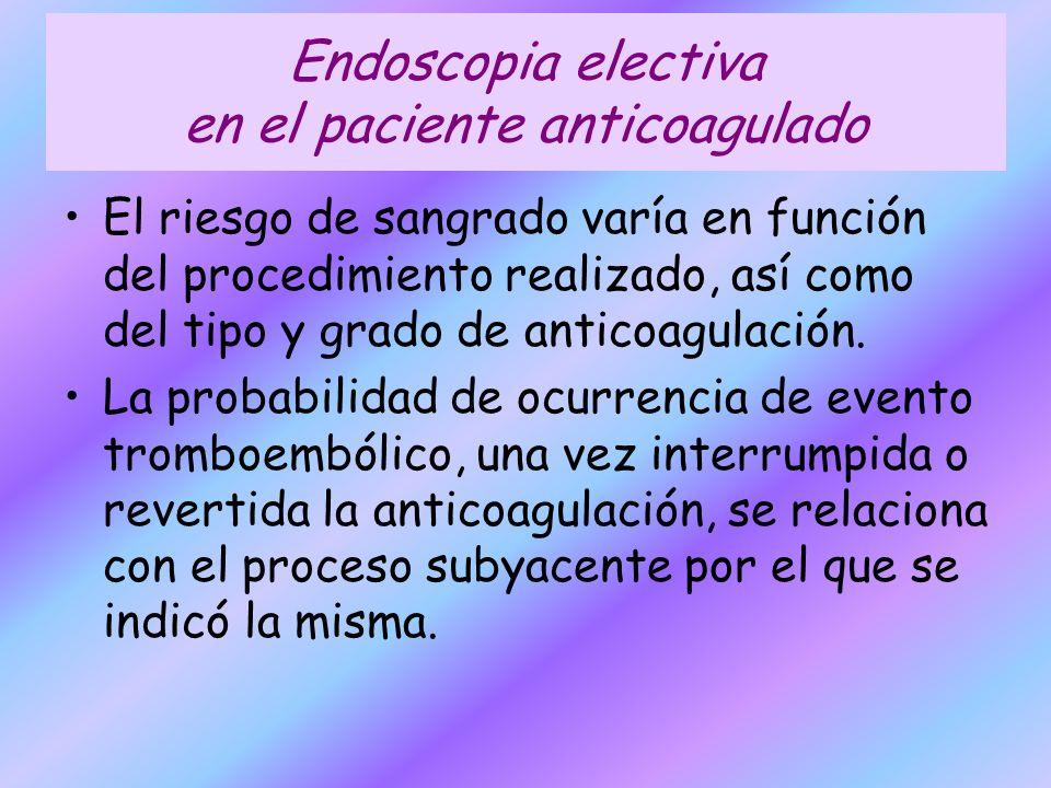 Endoscopia electiva en el paciente anticoagulado