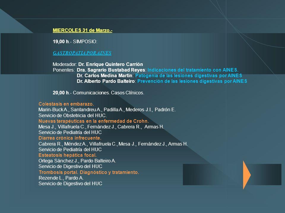 MIERCOLES 31 de Marzo.- 19,00 h.- SIMPOSIO: GASTROPATIA POR AINES. Moderador: Dr. Enrique Quintero Carrión.